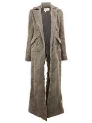 Greg Lauren Long Chain Embellished Coat Grey