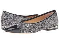 Michael Michael Kors Sabrina Ballet Black White Tweed Patent Women's Shoes Gray