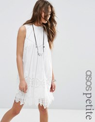 Asos Petite Premium Ladder And Lace Swing Dress With High Neck White