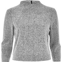 River Island Womens Grey Knit High Neck Grazer Top