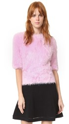 Carven Short Sleeve Fuzzy Sweater Rose Clair