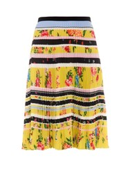 Mary Katrantzou Fontaine Lemon Blossom Print Pleated Skirt Yellow Print