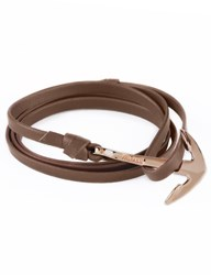 Miansai Brown Rose Plated Anchor On Leather Bracelet
