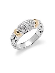 Effy Diamond 18K Yellow Gold And Sterling Silver Ring