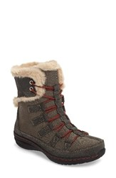 Aetrex Women's Waterproof Faux Fur Trim Boot Grey Nylon Fabric