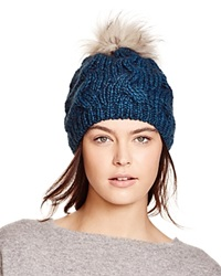 Echo Cable Knit Beanie With Asiatic Raccoon Fur Pom Pom 100 Bloomingdale's Exclusive Dusk