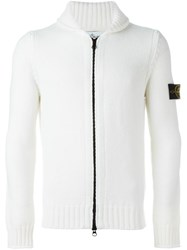 Stone Island Zipped Cardigan White