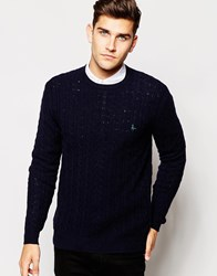 Jack Wills Jumper In Cable Knit Navy Donegal
