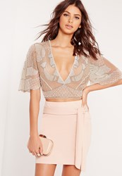 Missguided Plunge Embellished Crop Top Nude Beige