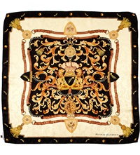 Aspinal Of London Signature Shield Printed Silk Scarf Black