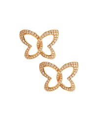 Chopard 18K Rose Gold Pave Diamond Butterfly Earrings Women's