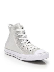 Converse Stingray Metallic High Top Sneakers Pure Silver