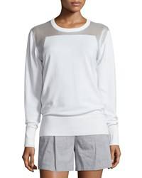 Dkny Sheer Trim Pullover Sweatshirt White