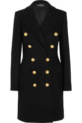 Balmain Double Breasted Wool And Cashmere Blend Coat Black