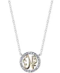 Unwritten Initial 'N' Pendant Necklace With Crystal Pave Circle In Sterling Silver And Gold Flash Two Tone