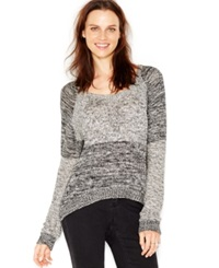 Silver Jeans Marled High Low Pullover Sweater Black