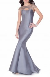 Women's Terani Couture Mixed Media Trumpet Gown