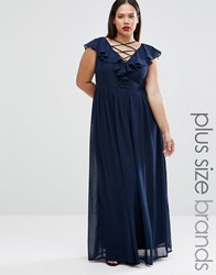 Club L Plus Maxi Dress With Lace Up Front And Ruffle Detail Navy