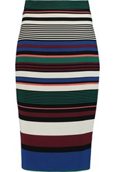 Badgley Mischka Striped Crepe Pencil Skirt Green