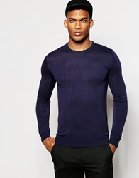 United Colors Of Benetton Knitted Crew Neck Jumper Navy06u