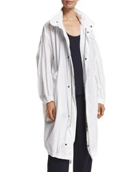 Vince Long Cotton Twill Anorak White