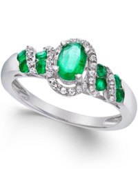 Macy's Gemstone 7 8 Ct. T.W. And Diamond 1 6 Ct. T.W. Twist Ring In Sterling Silver Green