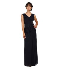 Adrianna Papell Cap Sleeve Shirred Gown With Bead Ink Women's Dress Navy