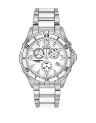 Citizen Ladies Eco Drive Ceramic Diamond Watch White