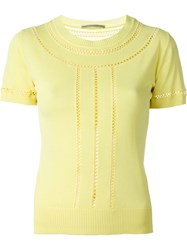 Ermanno Scervino Short Sleeve Knit Top Yellow And Orange