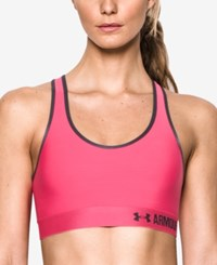 Under Armour Heatgear Mid Impact Compression Sports Bra Pink Sky Stealth Grey