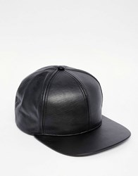 Asos Snapback Cap In Black Faux Leather Black