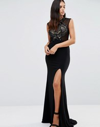 Forever Unique Sheba Maxi Dress With Embellished Lace Black