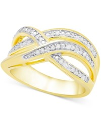 Victoria Townsend Diamond 1 4 Ct. T.W. Weave Style Ring In Sterling Silver Or 18K Gold Plated Sterling Silver Yellow Gold