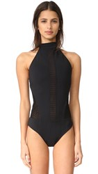 Jonathan Simkhai Halter Lace One Piece Black