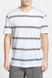 Daniel Buchler Stripe Pima Cotton And Modal T Shirt Gray