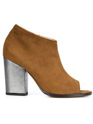 Alexa Wagner Open Toe Ankle Booties Brown