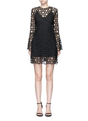 Nicholas Floral Wreath Lace Bell Sleeve Dress Black