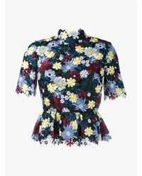 Erdem Guipure Lace Floral Peplum Top Blue Black Yellow Red Green Multicoloured