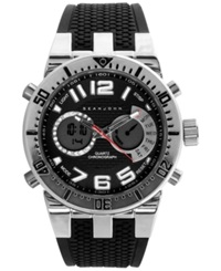 Sean John Men's Analog Digital Black Silicone Strap Watch 60X45mm 10021794