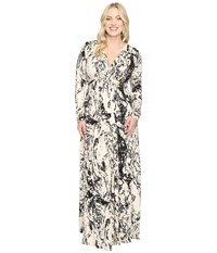 Rachel Pally Plus Size Long Sleeve Full Length Caftan White Label Space Dye Women's Dress Multi