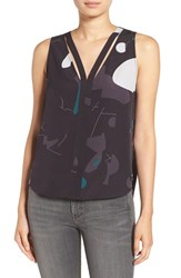 Trouve Women's 'Double V' Crepe Tank Navy Well Freeform Geo
