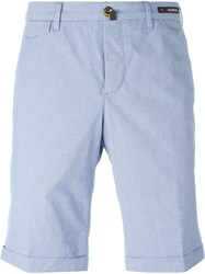 Pt01 Pleated Cuffed Chino Shorts Blue