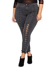 Addition Elle Nadia For L And L Plus Aboulhosn Front Lace Up Jeggings Black