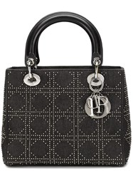 Christian Dior Vintage Studded 'Lady Dior' Tote Grey