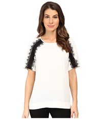 Calvin Klein Short Sleeve Top W Lace Shoulder Soft White Women's Blouse
