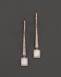 Meira T 14K Rose Gold Druzy Elongated Earrings With Diamonds Pink White