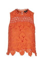 Topshop Panel Lace Shell Top Red