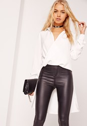 Missguided Wrap Front Drop Back Shirt White