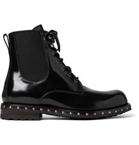 Dolce And Gabbana Studded Patent Leather Boots Black