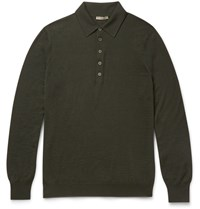 Bottega Veneta Slim Fit Wool Polo Shirt Green